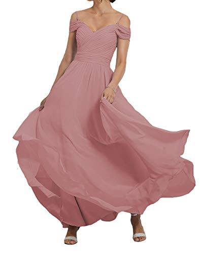 Lilyla Blush Pink Long Bridesmaid Dresses 2019 Off The Shoulder Chiffon Prom Gown US0 -