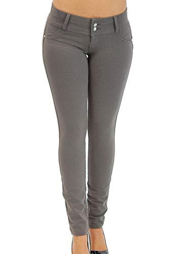 Vosujotis La Mujer Denim Jeans Alto Wasit Skinny Slim Bolsillo Pantalones Largos Grey