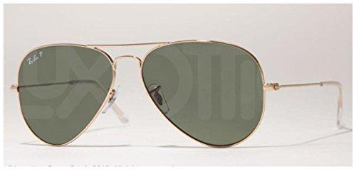 Ray-Ban RB3025 Aviator Polarized Sunglasses, Gold/Polarized Green, 62 mm (Ray Ban Aviator Green Polarized)
