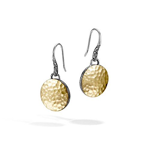 John Hardy Dot - John Hardy WOMEN's Dot Hammered Gold & Silver Round Drop Earrings on French wire (Dia 16.5mm) - EZ7154