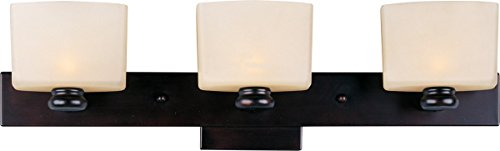 Maxim 9003DWOI Essence 3-Light Bath Vanity, Oil Rubbed Bronze Finish, Dusty White Glass, G9 Frost Xenon Xenon Bulb , 100W Max., Dry Safety Rating, 2700K Color Temp, Standard Dimmable, Glass Shade Material, 1150 Rated Lumens
