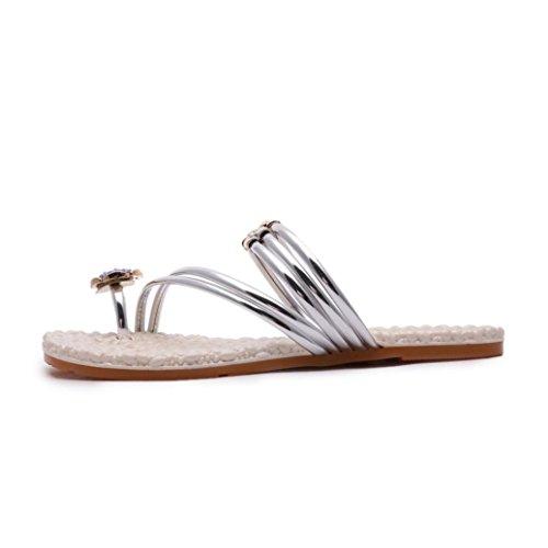Transer® Damen Blockabsatz Sandalen Casual Fashion Süß Niedlich Schuhe Silber