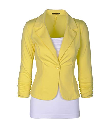 (Auliné Collection Women's Casual Work Solid Color Knit Blazer Yellow Large)
