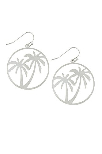 Earrings Palm Wood (BAUBLES & CO PALM TREE CUT OUT DROP EARRINGS (Silver))