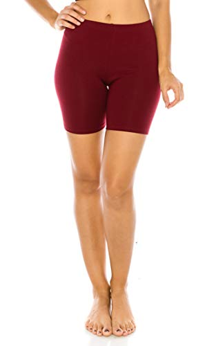 Jersey Running Tights - C&C Style Women's Stretch Jersey Bike Yoga Running Workout Bermuda Shorts Tights Pants Under Short Leggings S to 3XL Plus (Large, Burgundy)