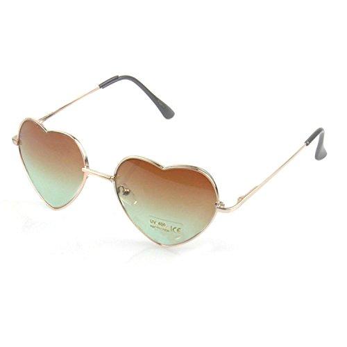 Modische Retro Vintage herzförmige UV400 Sonnenbrillen Farbverlauf Sonnenbrillen für Frauen Damen dunkelbraun