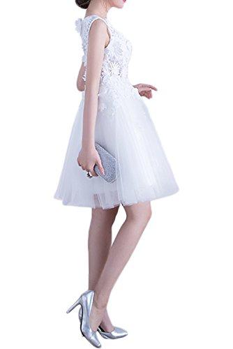 Gorgeous Bride Sexy Rundkragen A-Linie Tüll Spitze Knielang Abendkleider Cocktailkleider Weiß Ballkleider Kurz