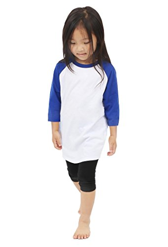 Raglan 3/4 Sleeves Baseball T Shirts Baby (M (6-7Yrs 7T), 5ks01_White/Royal Blue) ()