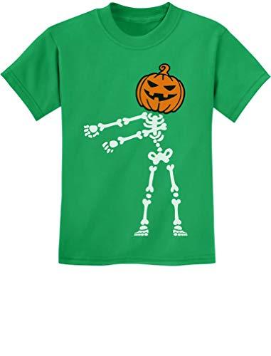 Skeleton Floss Dance Jack O' Lantern Pumpkin Halloween Youth Kids T-Shirt Small Green ()