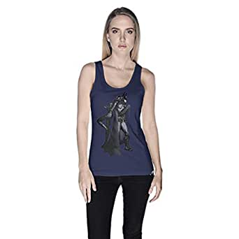 Creo Catwoman And Batman Tank Top For Women - L, Navy