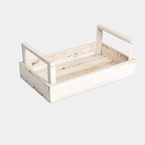 navidad regalo Rebajas cesta, caja, cajón de madera de pino,con asas para regalo, decoración de espacios, mesas, eventos, bodas, color blanco decapado, 50x30x17, se personalizan.: Amazon.es: Handmade