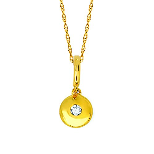 Diamond Accented Circle Pendant - 14K Yellow Gold .04 Cttw. Diamond Accented Dainty Circle Pendant Necklace with 18