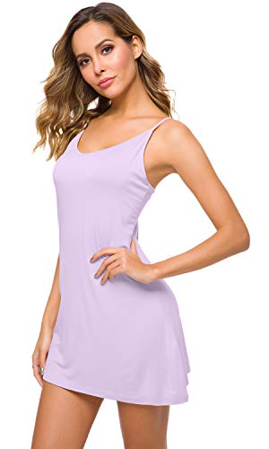 WiWi Women's Bamboo Full Slip Under Adjustable Spaghetti Strap Cami Mini Dress Basic Camisole Slip Dress S-4XL, Taro Purple, Small
