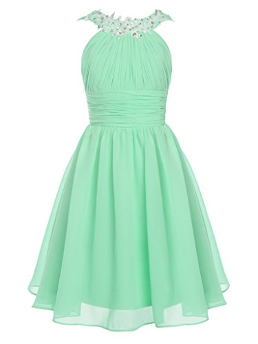 FAIRY COUPLE Big Girl's Round Neckline Ruched Bust Flower Girl Party Dress K0229 Green Size 12 by FAIRY COUPLE