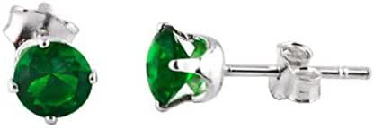 Sterling Silver Green 2mm Round Cubic Zirconia CZ Stud Earrings