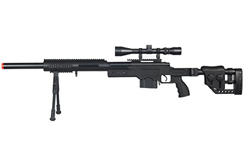Well MB4410BAB Full Metal MB4410 Spring Sniper Rifle Airsoft Gun (Black/Scope & Bipod Package)