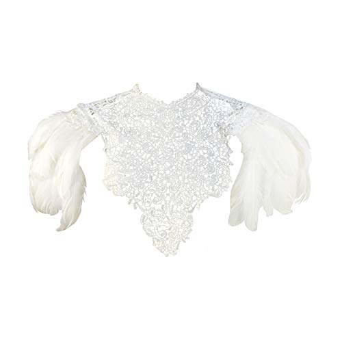 (Homelex Gothic White Natural Feather Wedding Lace Cape Shawl Shoulder Wing Pad(W-SL))