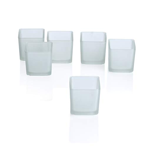 PARNOO Votive Candle Holders Bulk Set of 24 - Glass Votive Tealight Holders - Perfect for Wedding Centerpices, Home Decor (Square Frosted) ()