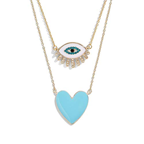 Dvacaman Heart Choker Necklace for Women - 2PCS Fashion Statement Personalized Pendant Necklace for Girls, Friendship Chain Necklace for Gift (Evil Eye) ()