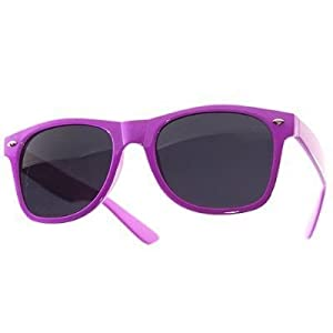 1980's style Fashion Sunglasses with Dark Lens - Purple