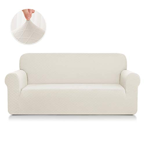 (CHUN YI 1-Piece Stretch Polyester and Spandex Rhombus Jacquard Sofa Slipcovers Durable Soft Sofa Cover High Elastic Loveseat Slipcover Easy Fitted 2 Seats Couch Covers (Loveseat, Cream White))