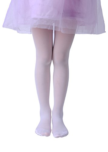 Girls Sheer Tights, Cute and Fashion Sheer Tights, 30den (Age: 8-10, Sheer-White)