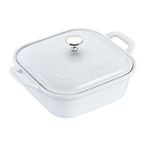 Staub 40508-639 Baking-Dishes Square Covered, 9 inch x 9 inch, White