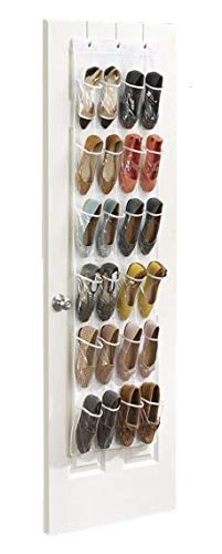 Hoople 24 Pocket Clear Over The Door Shoe Pantry Closet Cabinet Organizer Rack, White (64.2 x 18.9)