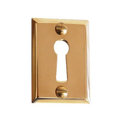 E-835 HEAVY STAMPED BRASS DOOR KEYHOLE COVER + FREE BONUS (SKELETON KEY BADGE) ()