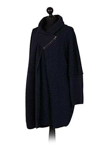 LushStyleUK Sizes Woollen Women Coat Navy 22 Long New Cocoon Sleeves Ladies Italian 18 Plus Coatigan aqwHBra