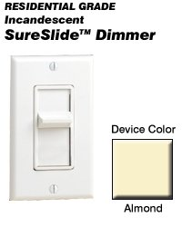 Leviton Decora Almond Slide Dimmer Switch 600w Almond 6621-a