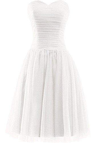 MILANO BRIDE Simple Short Prom Ball Dresses Homecoming Dress Strapless Tulle-12-White (Short Prom Strapless Dress)