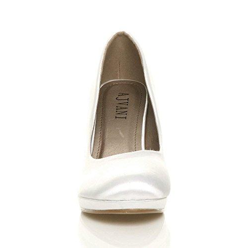 Satin Blanc Soirée Chaussures Femmes Escarpins Hauts Élégant Moyen Talons Pointure Simple 7qvCzxaw