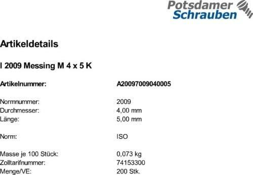 200 Schlitz Senkschrauben ISO 2009 Messing M4x5