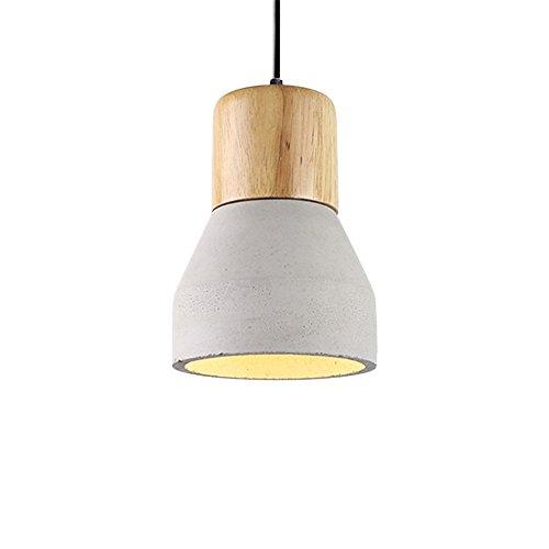 Loft Oak Pendant Light, Motent Industrial Vintage 4.7 inches Dia Minimalist Cement Ceiling Light with Wood Lampholder Concrete Hanging Light Fixture for Resturant Bar Kitchen - Concrete Color ()