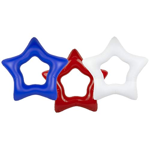 Swim Central Set of 3 Red, White and Blue American Star Inner Tubes, 36-Inch
