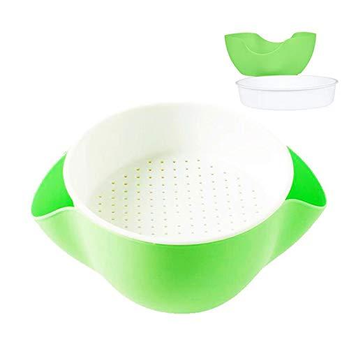 Double Dish Pistachio Bowl,Nuts Bowl, Pecan,Peanut,Edamame,Fruit,Breakproof Snack Serving Bowl (Green/White)