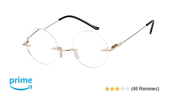 d0b096a045c7 Amazon.com  Steve s Totally Round Rimless Unisex Men and Women Circle  Reading Glasses Readers +1.50 Gold Tortoise (Carrying Case Included)   Health ...