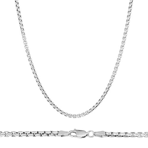 (NYC Sterling Unisex Solid Italian 3mm Round Box Chain in Sterling Silver (22
