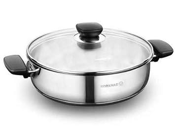 Korkmaz Kappa Olla Plano Utensilios Cocina Negro Compatible con Inducción 28 cm Acero Inox. A1692-1: Amazon.es: Hogar