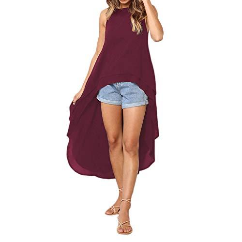 XOWRTE Women's Sleeveless Irregular Hem Solid Long Tops