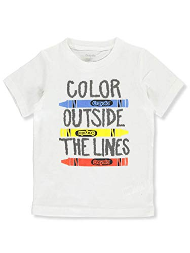 Crayola Children's Apparel Boys' Little Short Sleeve Graphic Crewneck T-Shirt Tee, White Outside The Lines, 7