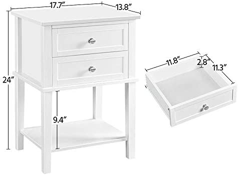 YAHEETECH 2 PCS Wood End Table Sofa Side Table Review