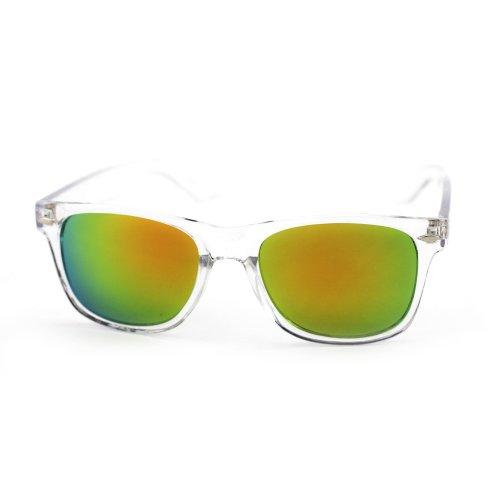 ASO Unisex Wayfarer Sunglasses Clear Frame Multicolored Lens -22 MM width - Asos Men Sunglasses