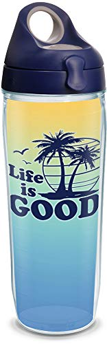 Tervis 1302760 Life is Good - Palm Tree Scene Insulated Tumbler with Wrap and Navy with Gray Lid 24 oz Water Bottle Clear ()
