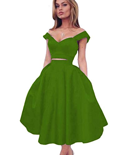 d2287129f4de2 KaBuNi Off The Shoulder Homecoming Dress Two Piece Prom Dress Short  Cocktail Green22W