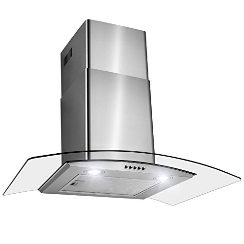 FIREBIRD 30″ Wall Mount Stainless Steel Tempered Glass Wall Mount Powerful Push Button Control Kitchen Vent Fan Range Hood