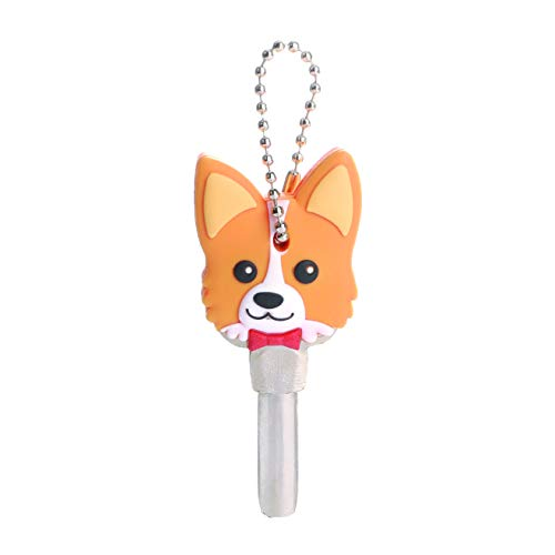 (ANJUU Corgi Key Cover Cute Corgi Soft Rubber Key Holder Animal and Cartoon Keychain with Hole for Corgi Gifts)