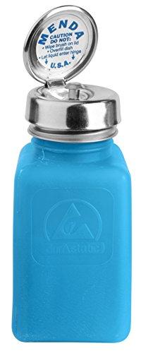 MENDA 35285 Pure Touch Stainless Steel Liquid Dispenser Pump, ESD Safe durAstatic Square Bottle, 6 oz, High Density Polyethylene/Stainless Steel, Blue (Pump Menda)