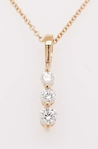Round Diamond 3 Stone Pendant Necklace, Graduated Snowman, 14K Gold, Adjustable Chain (G-H Color, SI2-I1 Clarity) (Rose-Gold, 0.25) ()